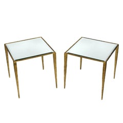 Pair of Gilt Metal Side Tables with Mirror Tops