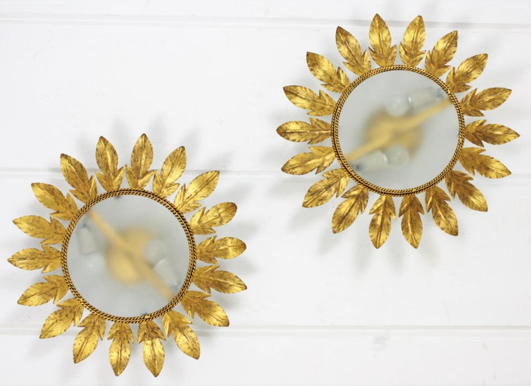 20th Century Spanish Midcentury Pair of Gilt Metal Sunburst Flower Light Fixtures or Mirrors For Sale