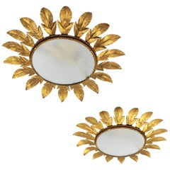 Spanish Midcentury Pair of Gilt Metal Sunburst Flower Light Fixtures or Mirrors