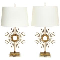 Pair of Gilt Metal Sunburst Lamps