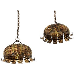 Pair of Gilt Metal Sunburst Pendant Lamps / Hanging Lights, Spain, 1960s