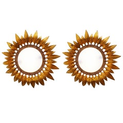 Pair of Gilt Metal Sunburst Wall Sconces, Spain, 1950s