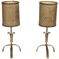 Pair of Gilt Metal Table Lamps