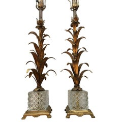 Pair of Gilt Palm Tree Lamps