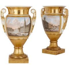 Pair of Gilt Paris Porcelain Vases with Painted Urban Scenes