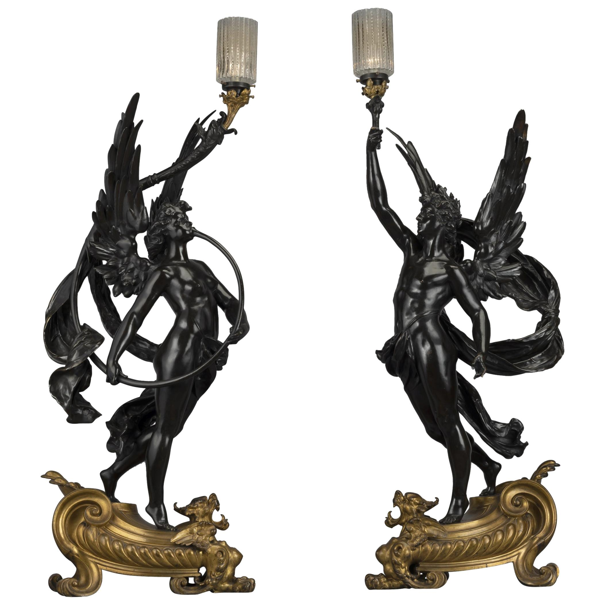 Pair of Gilt & Patinated Bronze Figural Torcheres by Bouchon, Paris, circa 1900