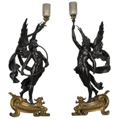 Pair of Gilt & Patinated Bronze Figural Torcheres by Bouchon, Paris, circa 1900