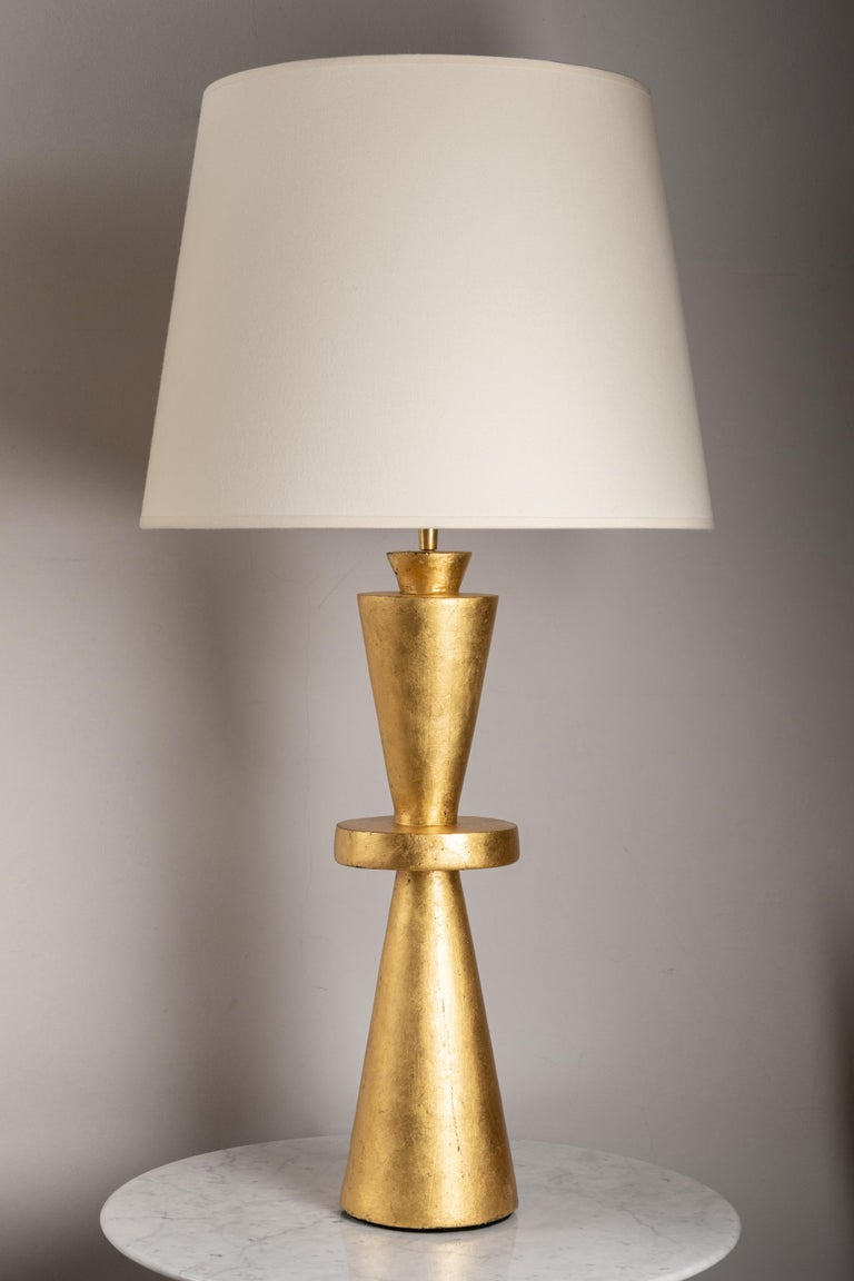 Mid-Century Modern Pair of Gilt Plaster Tables Lamps  For Sale