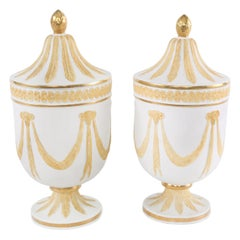 Pair of Gilt Porcelain Decorative Covered Urns
