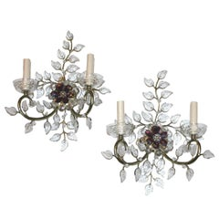 Pair of Gilt Sconces with Molded Glass Leaves