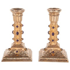 Pair of Gilt Silver and Cabochon Amethyst Viennese Candlesticks