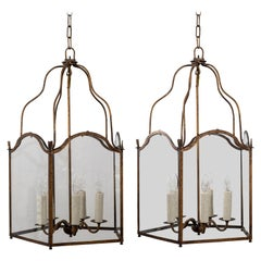 Pair of Gilt-Tole Five-Sided Italian Lanterns