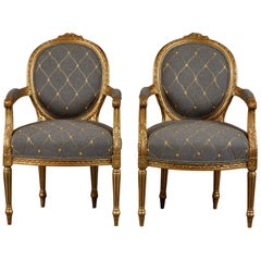 Pair of Gilt Upholstered Armchairs Neoclassical Style