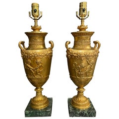 Pair of Gilt Urns as Lamps