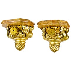 Pair of Gilt Wall Consoles with Hand Painted Pedestals, Austria, circa 1870