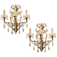 Pair of Gilt Wood and Glass Beads Sconces