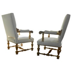 Pair of Gilt Wood Baroque Armchairs, Italy, 19th Century