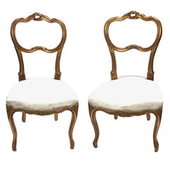 Pair of Giltwood Chairs, Shabby Chic Swedish Antique Farmhouse Style, 1920s