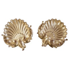 Pair of Giltwood Decorative Shells