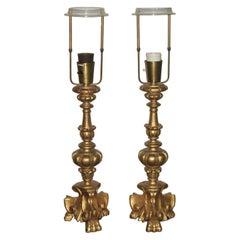 Pair of Gilt Wood Italian Lampfoot