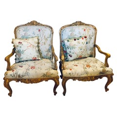 Pair of Gilt Wood Louis XV Style Bergeres or Fauteuils in Scalamandre Fabric