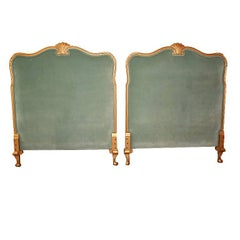 Twin Neoclassical Mahogany Velvet Headboards with Giltwood Carved Detail Pair
