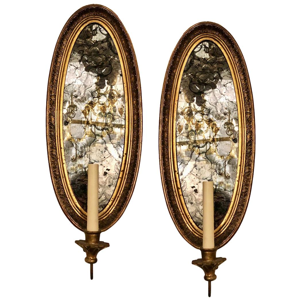 Pair of Gilt Wood Mirrored Sconces