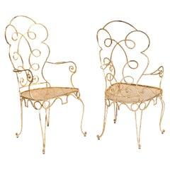Pair of Gilt Wrought Iron Armchairs, circa 1990