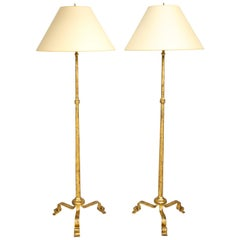 Pair of Gilt Wrought Iron Floor Lamps in the Ramsay Manner