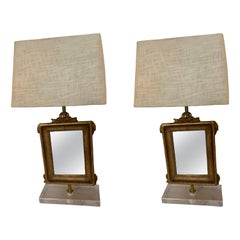 Pair of Giltwood 19th C. Mirrors, Mounted as Lamps on Acrylic Bases