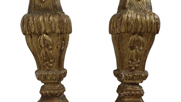 Pair of Giltwood Altar Candlestick Lamps, Italian, 18th Century For Sale 5