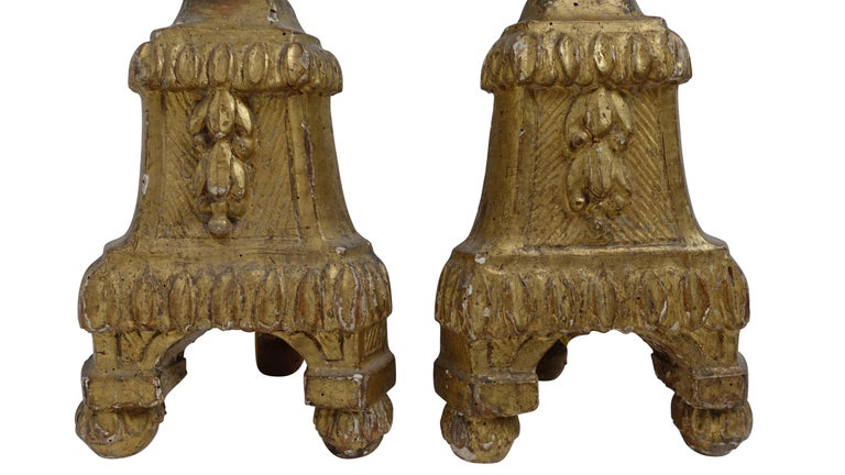 Pair of Giltwood Altar Candlestick Lamps, Italian, 18th Century For Sale 6