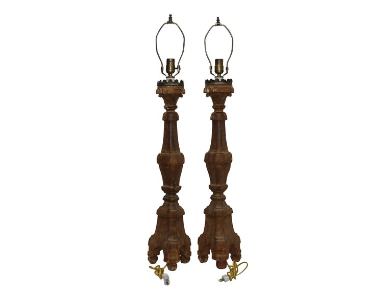Pair of Giltwood Altar Candlestick Lamps, Italian, 18th Century For Sale 7