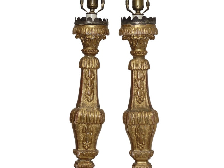 Pair of Giltwood Altar Candlestick Lamps, Italian, 18th Century In Good Condition For Sale In San Francisco, CA