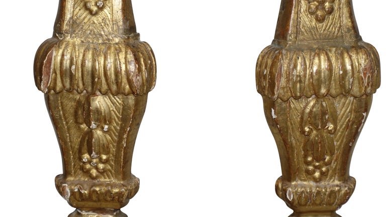 Wood Pair of Giltwood Altar Candlestick Lamps, Italian, 18th Century For Sale