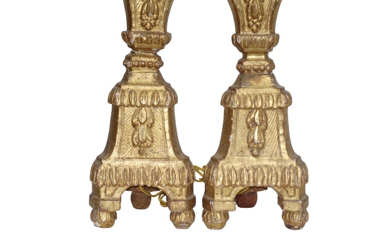 Pair of Giltwood Altar Candlestick Lamps, Italian, 18th Century For Sale 1