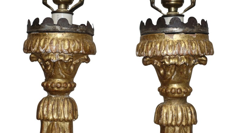 Pair of Giltwood Altar Candlestick Lamps, Italian, 18th Century For Sale 2