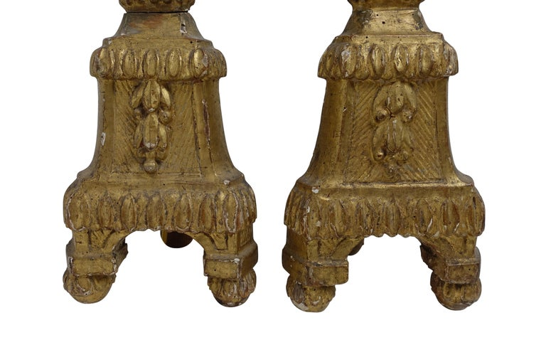 Pair of Giltwood Altar Candlestick Lamps, Italian, 18th Century For Sale 3