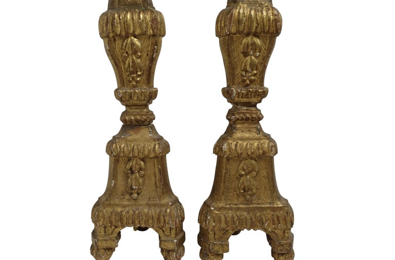 Pair of Giltwood Altar Candlestick Lamps, Italian, 18th Century For Sale 4