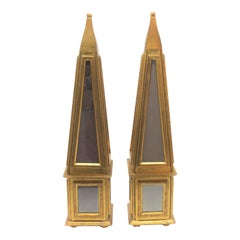 Pair of Giltwood and Mirror Florentine Obelisks