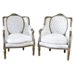 Pair of Giltwood Carved French Louis XVI Style Bergere Chairs