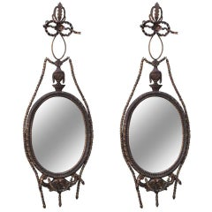 Pair of Giltwood Carved Italian Style Mirrors