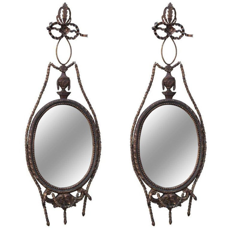 Pair of Giltwood Carved Italian Style Mirrors For Sale