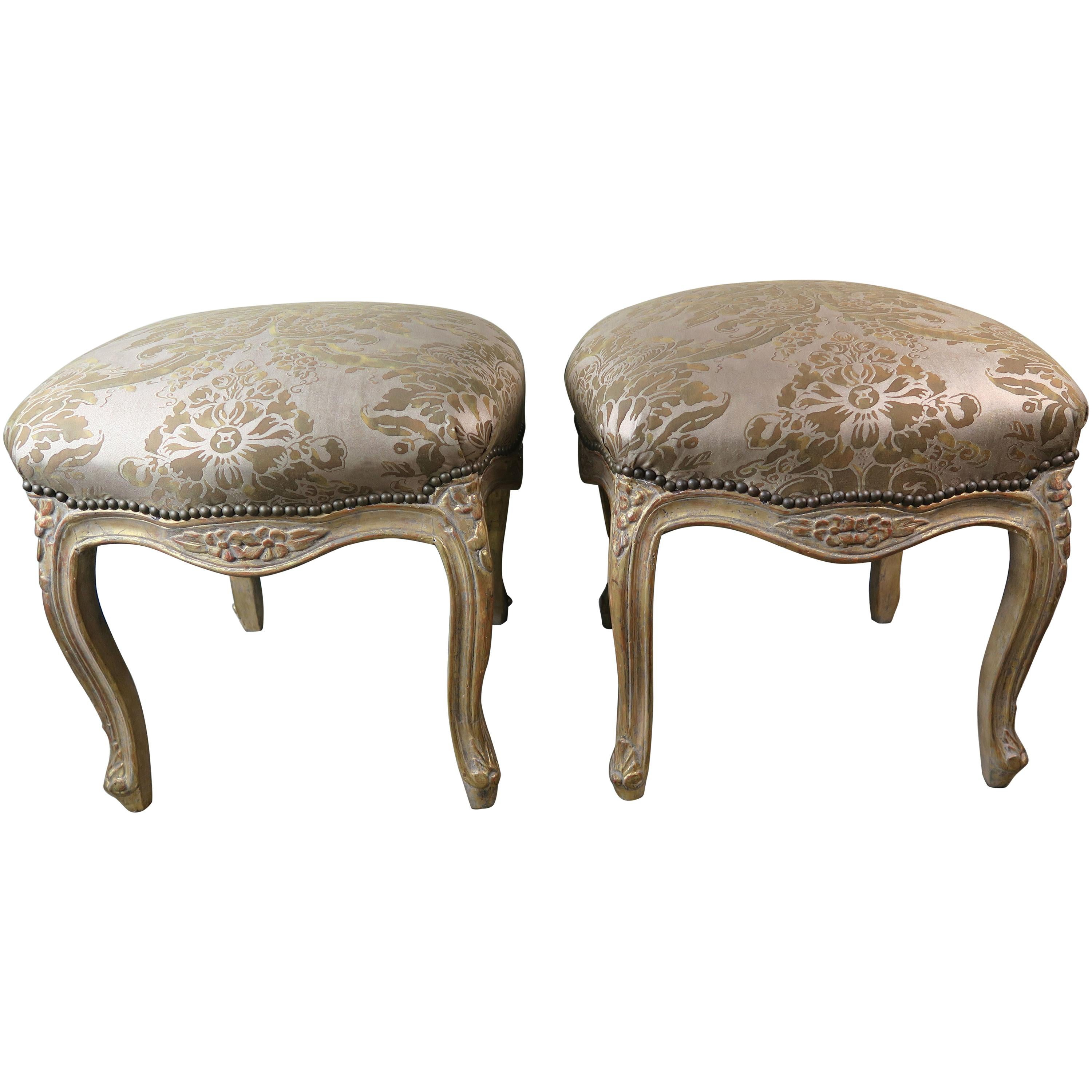 Pair of Gilt Wood Fortuny Upholstered Benches