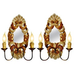 Pair of Giltwood French Double Light Mirrored Back Wall Sconces or Girandoles