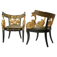 Pair of Giltwood & Green Imperial Roman Style Tub Chairs with Greek Key & Swans