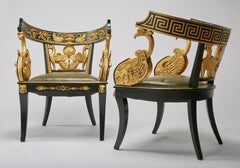 Pair of Giltwood & Green Imperial Roman Style Tub Chairs w/ Greek Key & Swans
