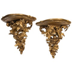 Pair of Giltwood Italian Brackets