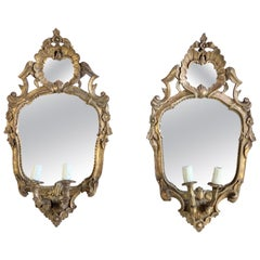 Pair of Giltwood Italian Mirrored Sconces, circa 1930s