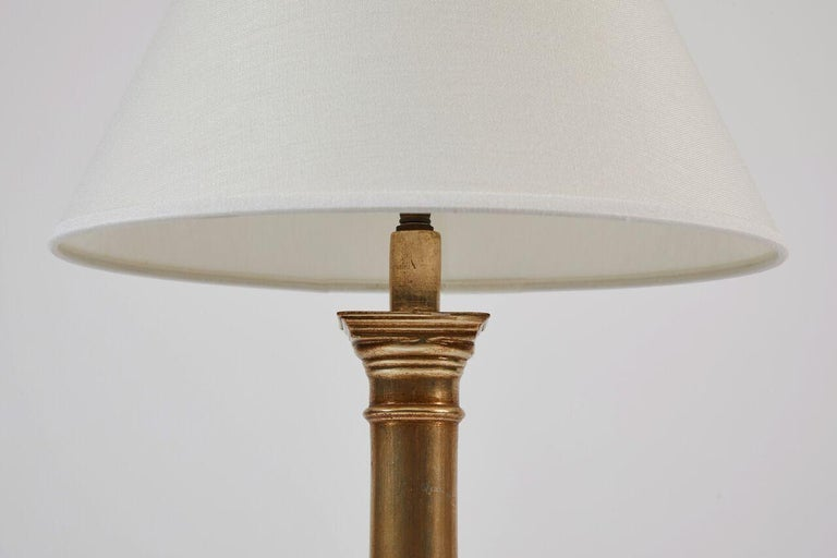 20th Century Pair of Giltwood Lamps, 18 Karat White Gold For Sale